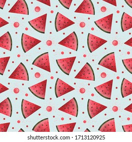 Watercolor Seamless Hand Drawn Pattern with Watermelons and Bubbles on the Pastel Textured Light Blue and Pink background. Good for scrapbooking, gist wrapping paper, postcards and textile