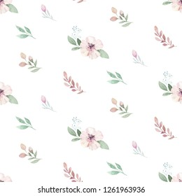 Watercolor Seamless hand illustrated floral pattern with floral leaf and flowers. Watercolor boho spring wallpaper botanical background textile
