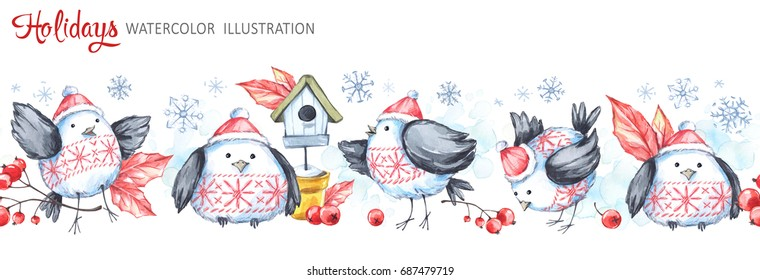 Watercolor seamless horizontal garland. Funny birds, birdhouse, berries, leaves and snowflakes. Creative New Year. Christmas illustration. Can be use in winter holidays design, posters, invitations.