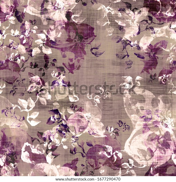 Watercolor seamless pattern. Abstract background with colorful  spring  field
