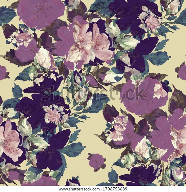 Watercolor seamless pattern. Abstract background with colorful  spring  field roses