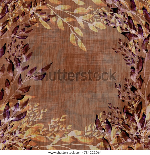 Watercolor seamless pattern. Abstract background with colorful summer leaves - IKO