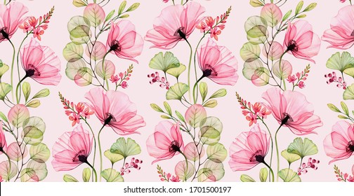 Watercolor seamless pattern. Abstract popp flowers, leaves and fresia plant. Pink floral background. Hand painted illustration with colourful flowers for wallpaper design, textile, fabric