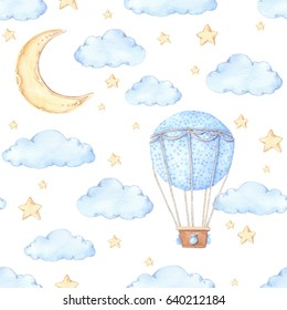 Watercolor seamless pattern - Air balloon, moon and stars. Ideas for a children's room. Baby shower party elements. Perfect for prints, postcards, greeting cards, fabric