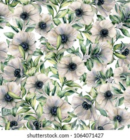 Watercolor seamless pattern with anemone and eucalyptus leaves. Hand painted floral illustration with white flowers and leaves isolated on white background. For design, print, fabric or background
