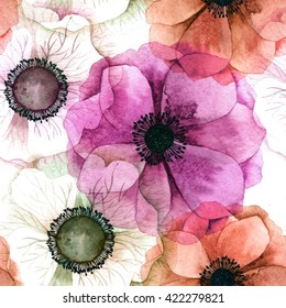 Watercolor seamless pattern with anemones. Raster texture for banner, invitation or other design.