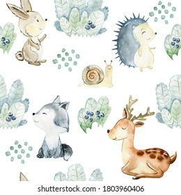 Watercolor seamless pattern with animals and berry bushes. Cute cartoon characters.