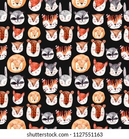 Watercolor seamless pattern with animals heads. Cute handrawn animals, perfect for kids apparel and textile. Beautiful wallpapers or gift paper