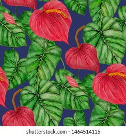 Watercolor seamless pattern with anthurium. Tropical floral print. Beautiful allover print with hand drawn exotic plants. Swimwear botanical design.