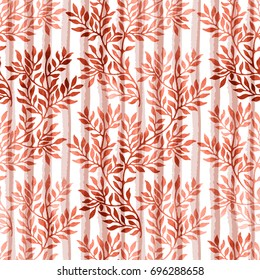 Watercolor seamless pattern with autumn branches and leaves on stripe background. Watercolour floral hand drawn ornament in trendy persimmon color.