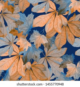 Watercolor seamless pattern with autumn leaves (chestnut, maple). Beautiful autumn print. Fabric texture background.