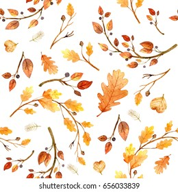 Watercolor seamless pattern autumn leaves  on a white background. Hand drawn illustration. Design for wedding invitations, greeting cards, cards.