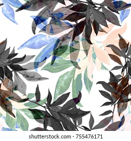 Watercolor seamless pattern of autumn leaves