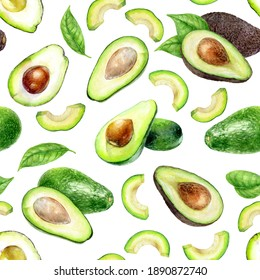 Watercolor seamless pattern avocado isolated on white.