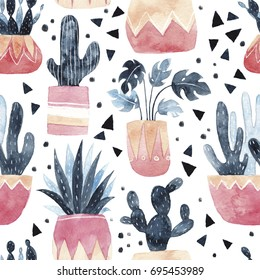 Watercolor seamless pattern. Background with cacti , succulents and monstera plant. Cute plants in pots. Hand drawn illustration.