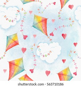 Watercolor seamless pattern background with flying kite in rainbow colors