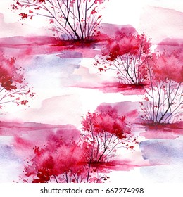 Watercolor seamless pattern, background with vintage pattern. Pink bush, tree, beautiful landscape in pink, lilac color. On a white background. Stylish fashion illustration