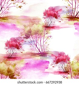 Watercolor seamless pattern, background with vintage pattern. Pink, yellow bush, tree, beautiful autumn landscape in pink, lilac color. On a white background. Stylish fashion illustration.