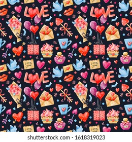 Watercolor seamless pattern with balloons, hearts, a bouquet of flowers, arrows, flying doves, a kiss on a dark background. The hand-drawn background is suitable for Valentine's Day and birthday.