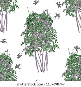 Watercolor seamless pattern with bamboo grove.