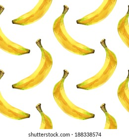 Watercolor seamless pattern with bananas on a white background - illustration