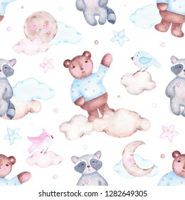 Watercolor seamless pattern with bear raccoon moon birds and clouds isolated on white background. Birthday children decoration kid illustration with forest animal