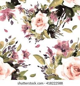 Watercolor seamless pattern beautiful bouquet-1.Vintage, retro.