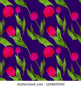 Watercolor seamless pattern with beautiful creative tulips. Bright spring print. Vintage floral texture for any kind of a design.