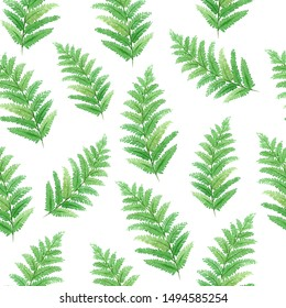 Watercolor seamless pattern with beautiful tropical exotic leaves. Best for background, wallpaper, textile, prints, clothes, design. Hand painted illustration