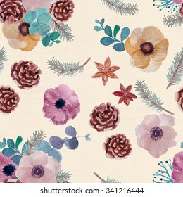 Watercolor Seamless pattern with Beautiful winter  flowers and bumps on vintage paper texture, Watercolor painting