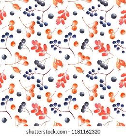 Watercolor seamless pattern with berries. Botanical texture with berries of mountain ash, barberry, wild grapes, wild rose. Excellent for wallpapers, textiles, scrapbooking, paper, packaging.