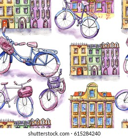 Watercolor seamless pattern with bicycles and houses, violet background