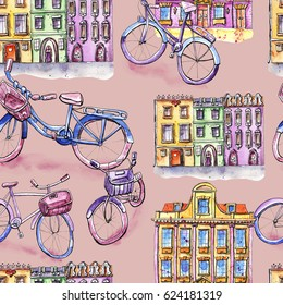 Watercolor seamless pattern with bicycles and houses, purple background