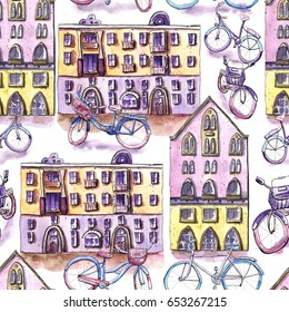 Watercolor seamless pattern with bicycles and houses