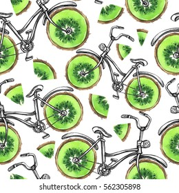 Watercolor seamless pattern bicycles with kiwi  wheels. Colorful summer background. Original hand drawn illustration. Healthy food. Lifestyle and sport.