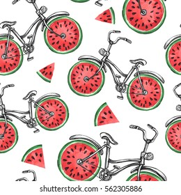 Watercolor seamless pattern bicycles with watermelon wheels. Colorful summer background. Original hand drawn illustration. Healthy food. Lifestyle and sport.
