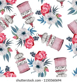 Watercolor seamless pattern with bird cage and flowers