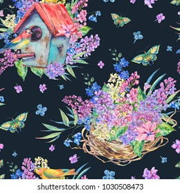 Watercolor seamless pattern with birdhouse, birds, blooming branch of lilac, butterfly and wildflowers. Natural on black background