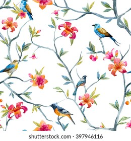 watercolor seamless pattern with birds and flowers, tree, spring wallpaper