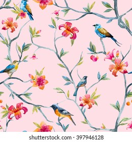 watercolor seamless pattern with birds and flowers, tree, soft spring wallpaper, pink flower, blue little bird