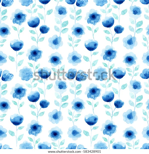 Watercolor seamless pattern with blue flowers. Abstract modern background, illustration. Template for textile, wallpaper, wrapping paper, etc.