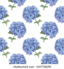 Watercolor seamless pattern of blue hydrangea clouds hand-drawn. Delicate floral background. Texture for fabric, wrapping paper