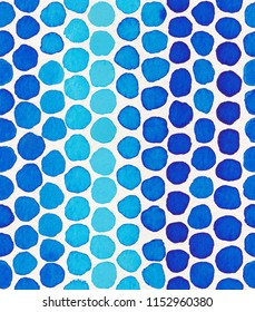 Watercolor seamless pattern with blue polka dots. Abstract modern background, illustration. Perfect for fabric, textile, wallpaper, wrapping paper, stationery, prints, and scrapbooking projects.