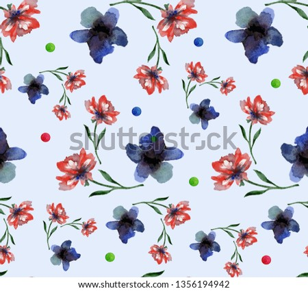 Watercolor seamless pattern,   blue and red anemones on a blue background