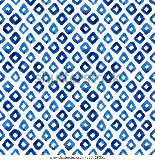 Watercolor seamless pattern with blue rhombus. Abstract modern background, illustration. Template for textile, wallpaper, wrapping paper, etc.