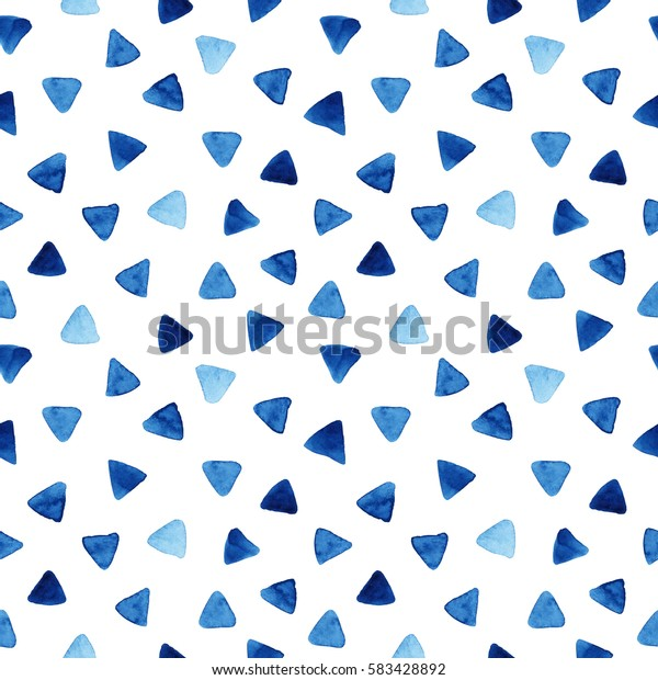 Watercolor seamless pattern with blue triangles. Abstract modern background, illustration. Template for textile, wallpaper, wrapping paper, etc.