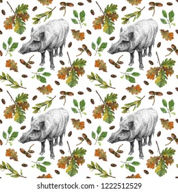 Watercolor seamless pattern with boar, oak and cherry leaves and acorns. Wild animal and plants