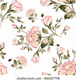 Watercolor seamless pattern bouquet of roses and bumble-1