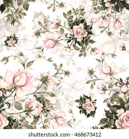 Watercolor seamless pattern bouquet of roses in bud-7. Beautiful pattern for decoration and design. Trendy print. Exquisite pattern of watercolor sketches of the flower. Toned.