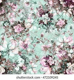 Watercolor seamless pattern bouquet of roses in bud H. Beautiful pattern for decoration and design. Trendy print. Exquisite pattern of watercolor sketches of the flower. Toned.